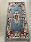 Hand Knotted Blue Wool Rug 24x48