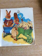 b3a ephemera 1960s Small Book Plate Picture Mother Rabbit And Father Play Time