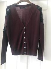 Ladies Karen Millen Size 3 Fine Wool Cardigan With Beading  . Wine