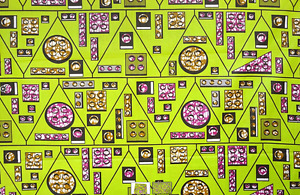 African Lime Legos Print Fabric BY 1/2 YARD CONTACT US IF TROUBLE ORDERING 1214