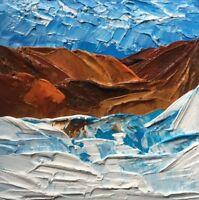 "MOUNTAIN LANDSCAPE Original Acrylic Painting Impasto Art 6""x6"" Julia Garcia NEW"