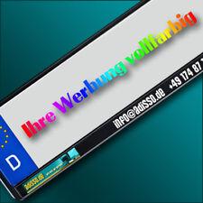 2 schwarze KENNZEICHENHALTER mit Wunschtext / Logo / Werbung vollfarbig BEDRUCKT