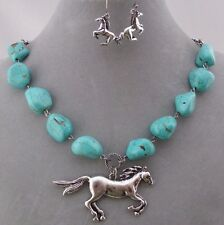 Silver Turquoise Running Horse Necklace Set Fashion Jewelry New