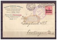 Dt. Besetzung Belgien, MiNr. 3 EF Brüssel nach Esslingen 20.01.1915 Zensur