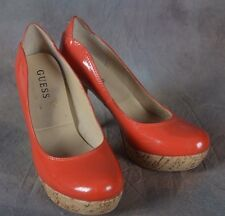 """Guess Women's Platform Heel 5"""" Stiletto Sophy  Red Spike Patent Leather 6M (G)"""