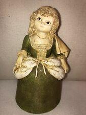 Vtg Marty Sculpture Irish Girl Green Velvet Dress Chalkware Bell Figurine