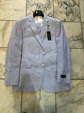 NWT U S Polo Assn. Mens Two Button Nested Seersucker Suit Blue/White Size 40R