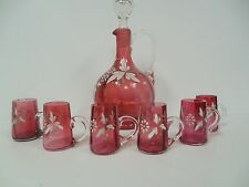 French Cranberry Enameled Glass Carafe Decanter & 6 Matching Cordials Antique