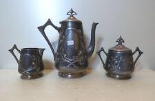NICE THREE PIECE ART NOUVEAU COFFEE SET WMF GERMANY 1900 MARKED PEWTER