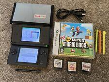 Nintendo DS Lite Console Bundle Black 4 Games New Super Mario Bros Sims 2 Brain