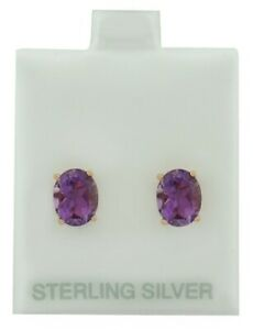 GENUINE 4.42 Cts AMETHYST STUD EARRINGS .925 Silver (Rose) **MADE IN USA**