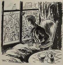 Dessin original de Pierre Rousseau pour Barnum, récit de cirque, défilé, 1954