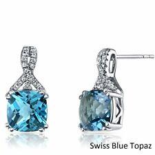 14k White Gold Round Blue Topaz Stud Earrings