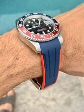 20mm BLUE & RED Rubber Strap Band Rolex Watch Submariner with Buckle