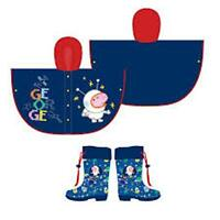 PEPPA PIG/GEORGE- Kid's Raincoat/Poncho + Wellington Boots - Approx: 2-5 Years