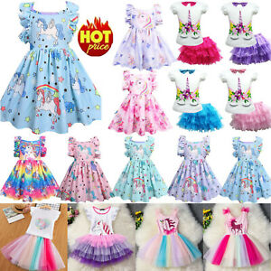 Girls Kids Unicorn Skater Dress Casual Princess Tutu Tulle Fancy Gown New Party