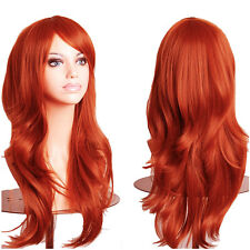 Women Full Wig Long Curly Hair Synthetic Cosplay Wigs Brown Red Blonde Highlight