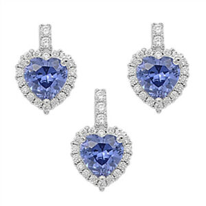 Halo Heart Earrings Simulated Tanzanite Clear CZ 925 Sterling Silver Pendant Set