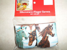 Horses-Cotton-Microwave Oven Mitts-Hot Pads-Pot Holder-Patty's Mitts Free