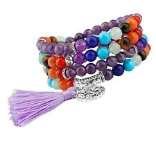 Amethyst Tibetan Buddhist Buddha Meditation Prayer Bead Mala Bracelet / Necklace