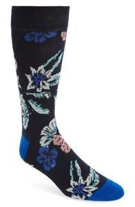 Ted Baker London Navy Blue Purple Floral Socks Men NEW NWT Cotton Blend Jacquard