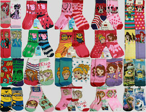Girls Boys Socks 6 Pairs clearance Character Childrens Kids .mixed random lots