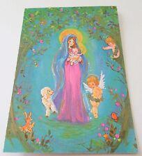 Used Vtg Christmas Card Madonna Mother Mary & Jesus w Lamb & Cherubs Angels