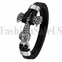 Gothic Men's Cool Multilayer Leather Steel Thor's Hammer Mjolnir Bracelet Bangle