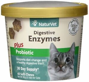 NaturVet Digestive Enzymes Plus Probiotics Soft Chew Cat 60 count