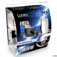2x H3 Lunex PLATINUM BLUE 12V 55W Car Headlight Halogen Bulbs PK22s 4700K