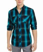 INC Mens Shirt Aqua Blue Size 2XL Plaid Print Dual Pocket Button Up $65 #133