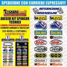 Adesivi kit sponsor tecnici moto 2 (20 loghi) Sbk Honda Ducati Suzuki Yamaha gp