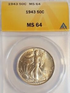 1943 50C Walking Liberty Silver Half Dollar - Beautiful coin graded MS64 ANACS