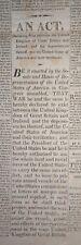 James Madison War 1812 COLUMBIAN EXTRA An Act Declaring War June 1812 BROADSHEET