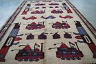 Amazing Afghan War Rug hand Made and Hand Knotted Showing helicopters, tanks,