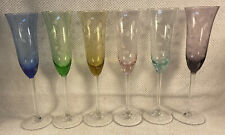 VINTAGE SET OF 6 COLORS CHAMPAGNE ETCHED Floral GLASSES WITH LONG STEMS