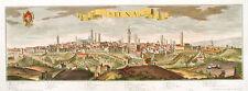 SIENA, veduta prospettica del 1710. Stampa dipinta a mano cm. 101x36