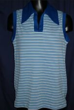 VTG Blue White Sleeveless Blouse Top Shirt Retro Collar