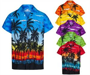 MENS HAWAIIAN SHIRT STAG PALM TREE ALOHA HOLIDAY BEACH SUMMER FANCY PARTY S-3XL