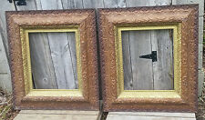 Pair Antique 1800's Baroque Victorian Wood & Gesso Layered 14x17 Picture Frames