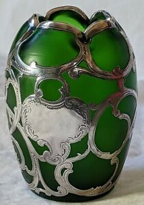Art Nouveau Silver Overlay on Green Iridescent Glass Possibly Loetz  No Reserve!