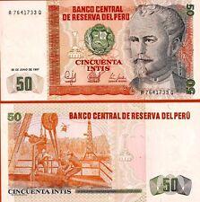 PEROU billet neuf de 50 INTISPick130 NICOLAS DE PIEROLA petrole helicoptere 1985