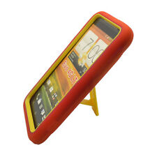 For HTC EVO 4G LTE Impact Hard Rubber Case Phone Cover Kick Stand Red Yellow