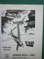 1950'S PUB AERONAUTICA MACCHI VARESE MB 323 AVION ECOLE ITALIAN AIR FORCE ADVERT