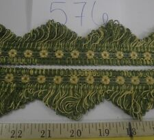 "13 1/2 yds SCALLOP GIMP FRINGE 2"" GREEN/YELLOW Upholstery Fabric Trim F576"