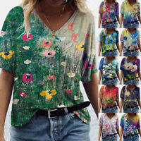 Womens Casual Floral Printing Blouse V Neck Short Sleeve T Shirt Loose Comfy Top