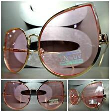 OVERSIZED VINTAGE 70's RETRO CAT EYE Style SUN GLASSES Rose Gold Frame Pink Lens