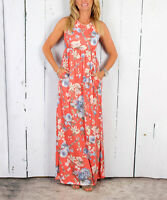 Racerback Maxi Dress Size UK 8 Ladies Coral Floral with Side Pockets NEW  #518