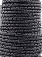 Genuine Black Round Bolo Braided Leather Cord 5 mm 1 Yard - Ship Fast