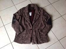 Manteau,veste en tweed (laine Et Alpaga) et cuir COP.COPINE taille 40 neuve 205€